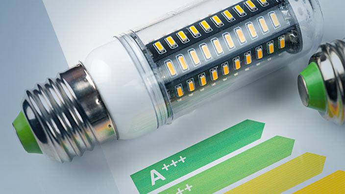 LED Leuchtmittel mit Energieeffizienz-Skala