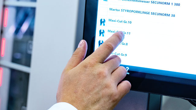 Touchscreenbedienung Warenbestand