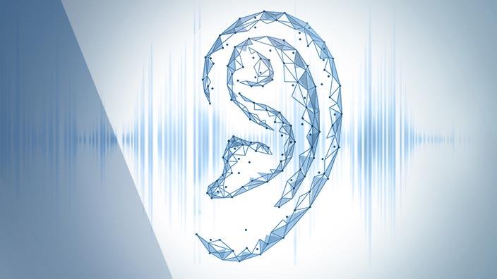 Ohr mit Frequenzwellen